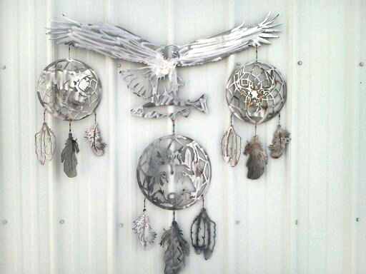 custom, design, dreamcatcher, eagle, bear, wolf, feathers, deer, fish, trout, garden, priority1signs, steel, plasma, cut, sign,