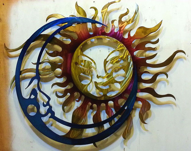 custom colorful powdercoated sun and moon steel plasma cut sign