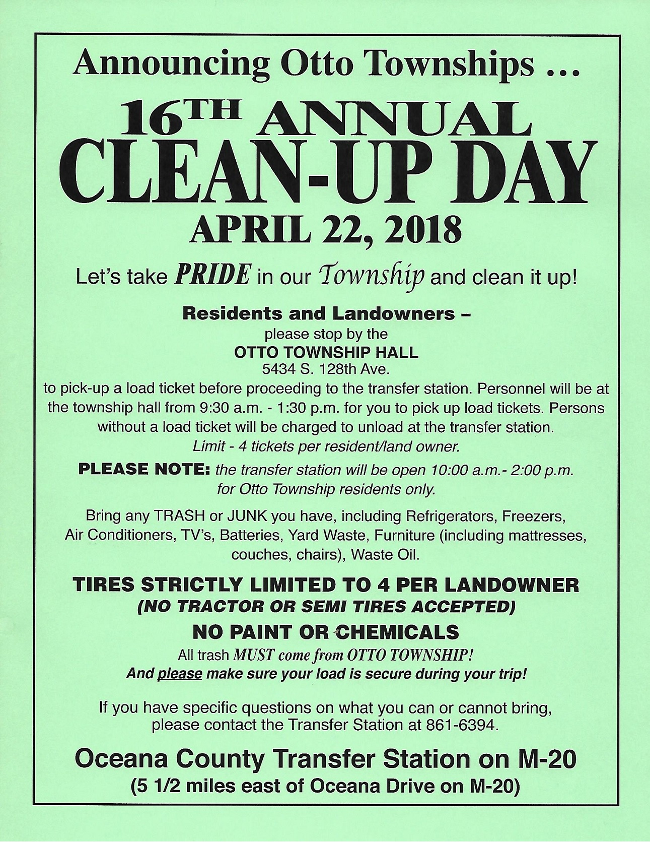 otto township clean up day